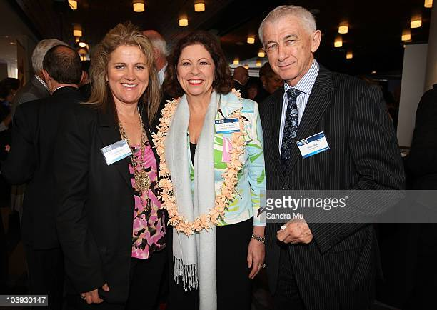 Julie Christie Michelle Boag and Brian Blake pose during the RWC 2011 One Year To Go celebrations at Eden Park on September 9 2010 in Auckland New...