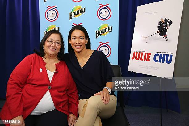 Julie Chu US Olympian and her Mom Miriam Chu join PG to kickoff The 2014 Sochi Olympic Winter Games 'Thank You Mom' campaign with a screening of...