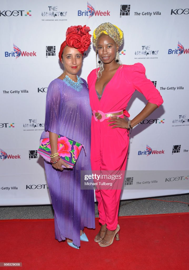 Julie Clancy and Tolula Adeyemi attend BritWeek at The Getty Villa on May 8, 2018 in Pacific Palisades, California.