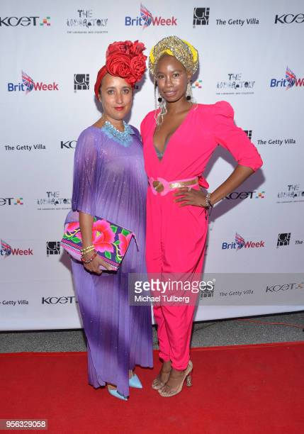 Julie Clancy and Tolula Adeyemi attend BritWeek at The Getty Villa on May 8 2018 in Pacific Palisades California