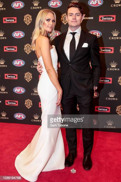 Julie Clarke and Lachie Neale attends 2018 Brownlow Medal at Crown Entertainment Complex on September 24, 2018 in Melbourne, Australia.