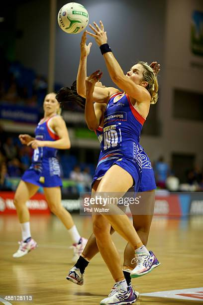 Julie Corletto of the Mystics takes a pass during the round 10 ANZ Championship match between the Mystics and the Steel at The Trusts Stadium on May...