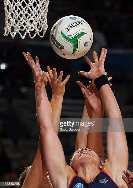 Julie Corletto of the Vixens competes for the ball during the round nine ANZ Championship match between the Melbourne Vixens and the Sydney Swifts at...