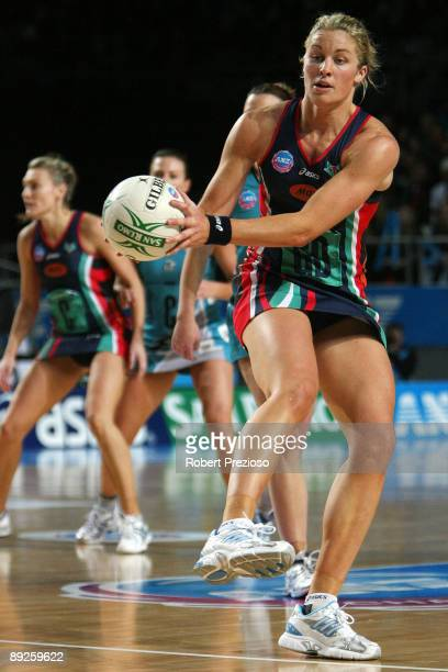 Julie Corletto of the Vixens receives the ball during the ANZ Championship Grand Final between the Melbourne Vixens and the Adelaide Thunderbirds at...