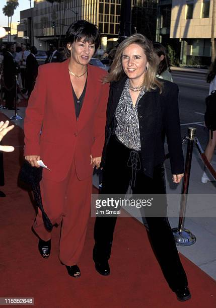 Julie Cypher and Mellissa Etheridge during Premiere of The Net at Academy Theater in Beverly Hills California United States
