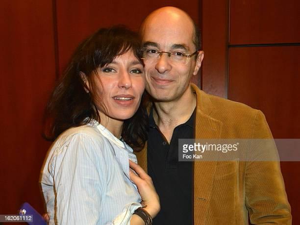 Julie Debazac and Bernard Werber attend the 18 eme Edition des Journees du Livre et Du Vin 2013' - Jury Lunch at the Hotel Lutetia on February 18,...