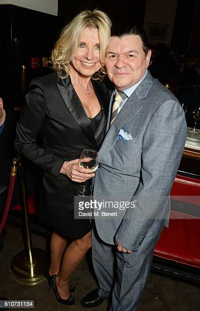 Julie Dennis and Jamie Foreman attend the press night after party for Mrs Henderson Presents at The National Cafe on February 16 2016 in London...