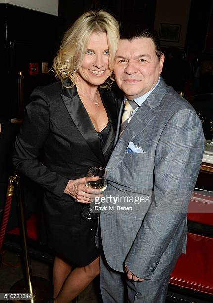 "Julie Dennis and Jamie Foreman attend the press night after party for ""Mrs Henderson Presents"" at The National Cafe on February 16, 2016 in London,..."