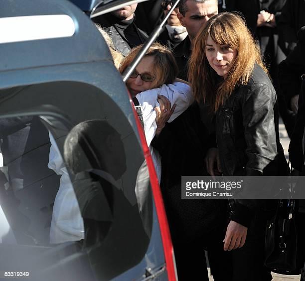 Julie Depardieu and Elisabeth Depardieu attend Guillaume Depardieu's funeral service at Notre-Dame Church on October 17, 2008 in Bougival, France.