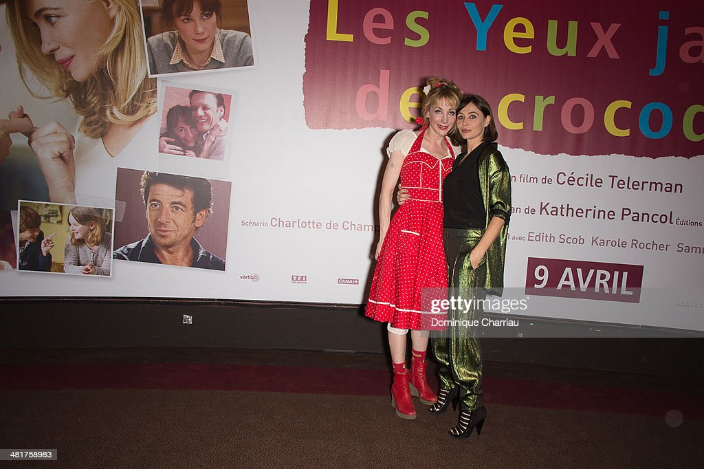 Julie Depardieu and Emmanuelle Beart attend the 'Les Yeux Jaunes Des Crocodiles' Paris Premiere at Cinema Gaumont Marignan on March 31, 2014 in Paris, France.