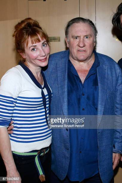 Julie Depardieu and her father Gerard Depardieu pose after 'Depardieu Chante Barbara' at Le Cirque d'Hiver on November 6 2017 in Paris France