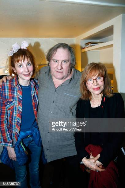 Julie Depardieu her father Gerard Depardieu and her mother Elisabeth Depardieu pose Backstage after Gerard Depardieu sings Barbara accompanied on the...