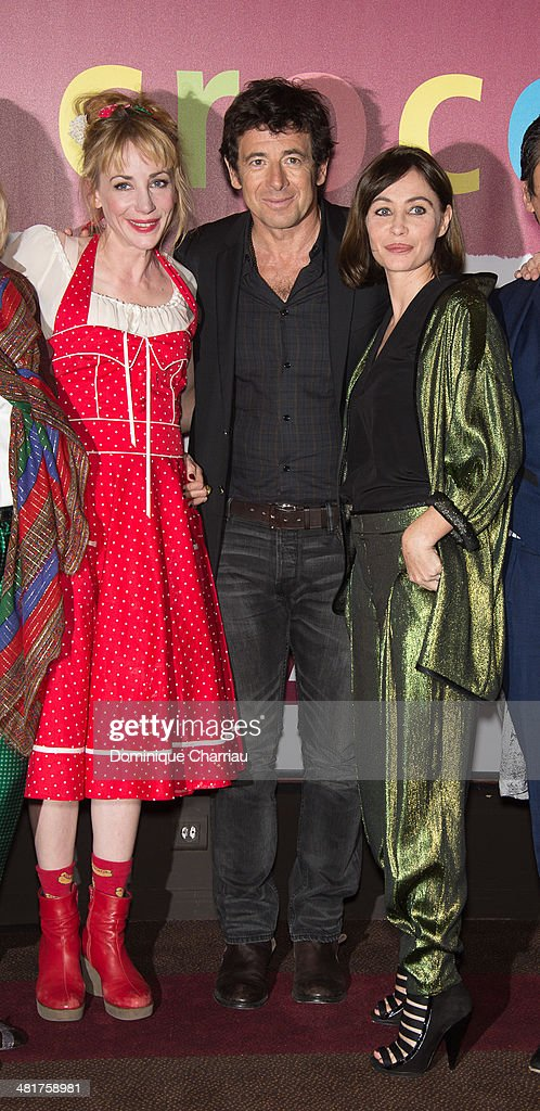 Julie Depardieu, Patrick Bruel and Emmanuelle Beart attend the 'Les Yeux Jaunes Des Crocodiles' Paris Premiere at Cinema Gaumont Marignan on March 31, 2014 in Paris, France.