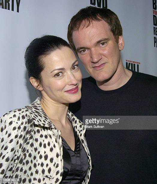 Julie Dreyfus and Quentin Tarantino during 'Kill Bill Vol 1' DVD Release Party at The Playboy Mansion in Holmby Hills California United States