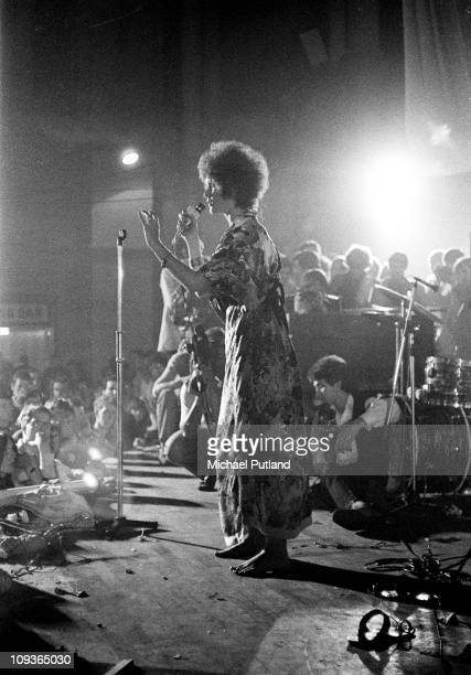 Julie Driscoll performs on stage at International LoveIn Festival Alexandra Palace London 29th July 1967