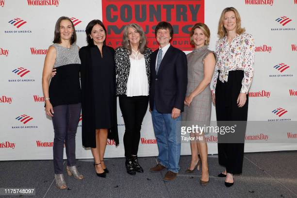 Julie Dunfey Sally Williams Kathy Mattea Ken Burns Anne Wagner and Susan Spencer attend a panel discussion of Country Music by Ken Burns at Bank of...