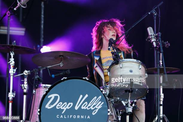 Julie Edwards of Deap Vally performs at the Queens of the Stone Age and Friends show at Finsbury Park on June 30 2018 in London England