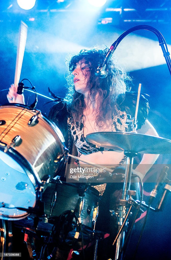 Julie Edwards of Deap Vally performs during the bands November 2013 UK tour at 02 Academy on November 7, 2013 in Birmingham, England.