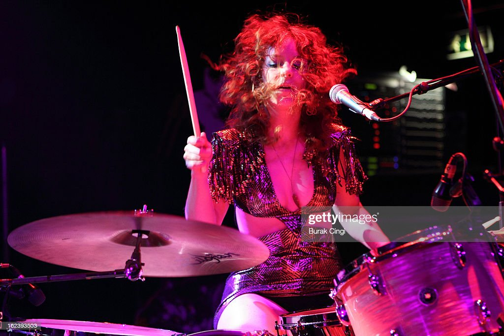 Julie Edwards of Deap Vally performs on stage as part of the NME Awards series of concerts at O2 Shepherd's Bush Empire on February 22, 2013 in London, England.