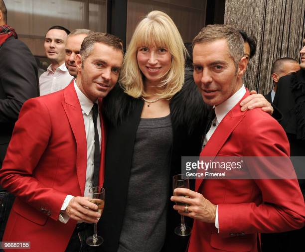 Julie Enfield with designers Dean Caten and Dan Caten at the DSquared and MAC Cosmetics celebration for the opening of the 2010 Winter Olympic Games...