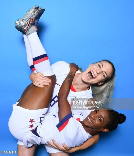 Julie Ertz and Crystal Dunn of the USA pose for a portrait during the official FIFA Women's World Cup 2019 portrait session at Best Western Premier...