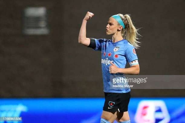 Julie Ertz of Chicago Red Stars celebrates after scoring a penalty kick against the OL Reign FC in the quarterfinal match of the NWSL Challenge Cup...