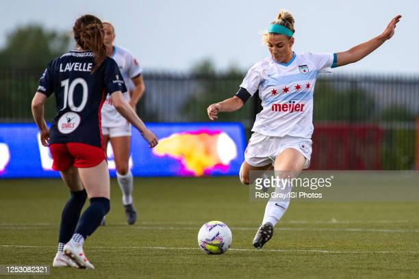 Julie Ertz of Chicago Red Stars passes the ball during a game between Washington Spirit and Chicago Red Stars at Zions Bank Stadium on June 27, 2020...