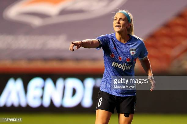 Julie Ertz of Chicago Red Stars reacts against the Sky Blue FC during the second half in the semifinal match of the NWSL Challenge Cup at Rio Tinto...