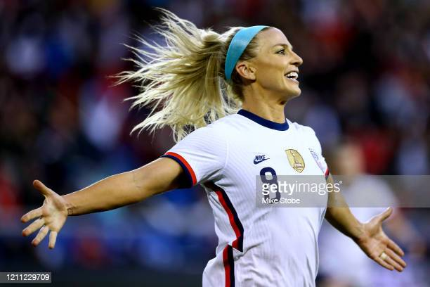 Julie Ertz of the United States celebrates her goal against Spain at Red Bull Arena on March 08 2020 in Harrison New Jersey