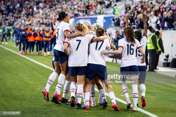 Julie Ertz of the United States celebrates with teammates her goal in the 2nd half for the lead during the 2020 SheBelieves Cup match between United...