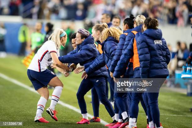 Julie Ertz of the United States gets congratulated on her goal for the lead during the 2nd half of the 2020 SheBelieves Cup match between United...