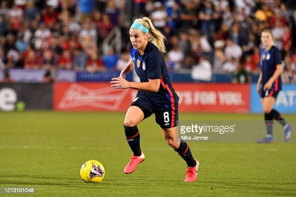 Julie Ertz of the United States moves the ball during the second half of the SheBelieves Cup match against Japan at Toyota Stadium on March 11 2020...