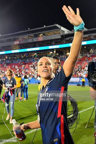 Julie Ertz of the United States waves to fans after the SheBelieves Cup match against Japan at Toyota Stadium on March 11 2020 in Frisco Texas The...