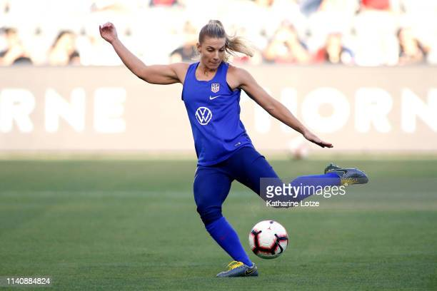 Julie Ertz of the U.S. Women's National Team practices during a training session at Banc of California Stadium on April 06, 2019 in Los Angeles,...