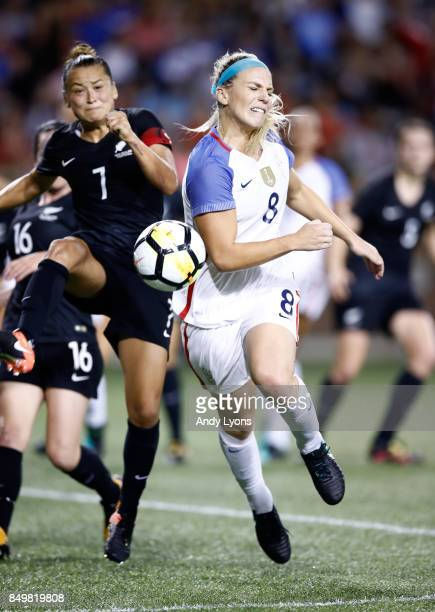 Julie Ertz of the USA and Ali Riley of New Zealand collide while battling for the ball during the match at Nippert Stadium on September 19 2017 in...