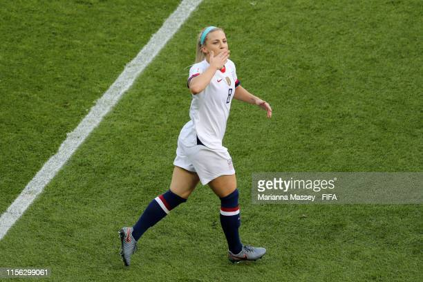 Julie Ertz of the USA celebrates after scoring her team's second goal during the 2019 FIFA Women's World Cup France group F match between USA and...