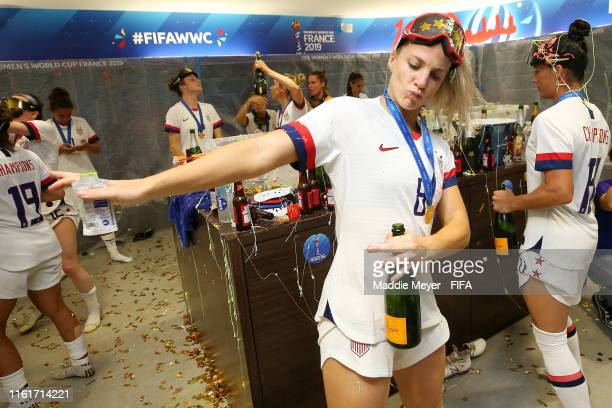 Julie Ertz of the USA celebrates in the locker room after the 2019 FIFA Women's World Cup France Final match between The United State of America and...