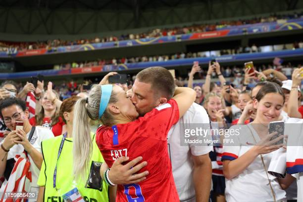 Julie Ertz of the USA celebrates with husband Zach Ertz following her team's victory in the 2019 FIFA Women's World Cup France Semi Final match...
