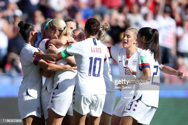 Julie Ertz of the USA celebrates with teammates after scoring her team's second goal during the 2019 FIFA Women's World Cup France group F match...
