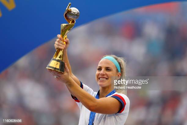 Julie Ertz of the USA celebrates with the FIFA Women's World Cup Trophy following her team's victory in the 2019 FIFA Women's World Cup France Final...
