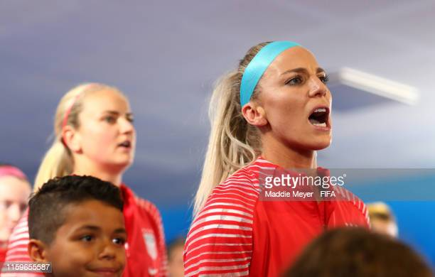 Julie Ertz of the USA prepares for kick off in the tunnel prior to the 2019 FIFA Women's World Cup France Semi Final match between England and USA at...