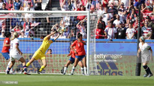 Julie Ertz of the USA scores her team's second goal past Claudia Endler of Chile during the 2019 FIFA Women's World Cup France group F match between...