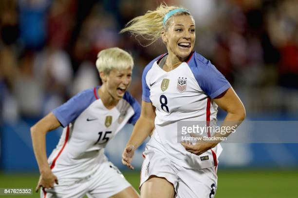 Julie Ertz of theUnited States celebrates her second goal in the first half against New Zealand at Dick's Sporting Goods Park on September 15, 2017...