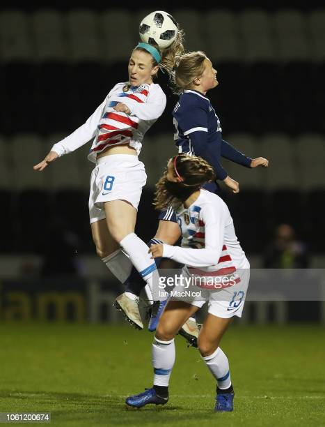 Julie Ertz of United States vies with Erin Cuthbert of Scotland during the Women's International Friendly match between Scotland and United States at...