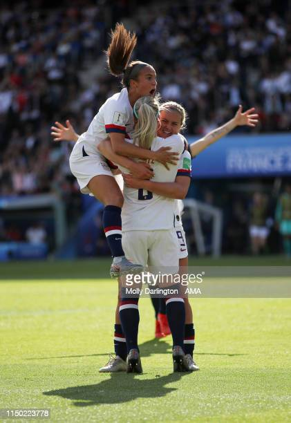 Julie Ertz of USA celebrates after scoring a goal to make it 20 during the 2019 FIFA Women's World Cup France group F match between USA and Chile at...