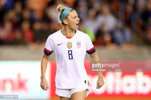 Julie Ertz of USA reacts during the group A game between United States and Haiti as part of the CONCACAF Women's Olympic Qualifying at BBVA Compass...