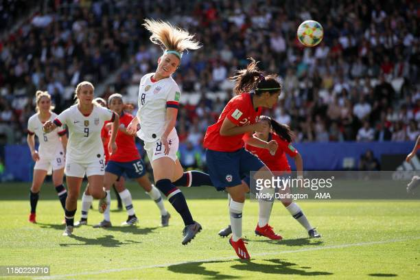 Julie Ertz of USA scores a goal to make it 2-0 during the 2019 FIFA Women's World Cup France group F match between USA and Chile at Parc des Princes...