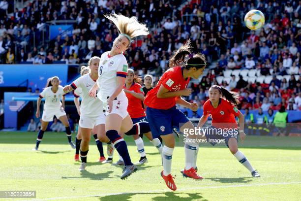 Julie Ertz of USA Women scores the second goal to make it 2-0 during the World Cup Women match between USA v Chile at the Parc des Princes on June...