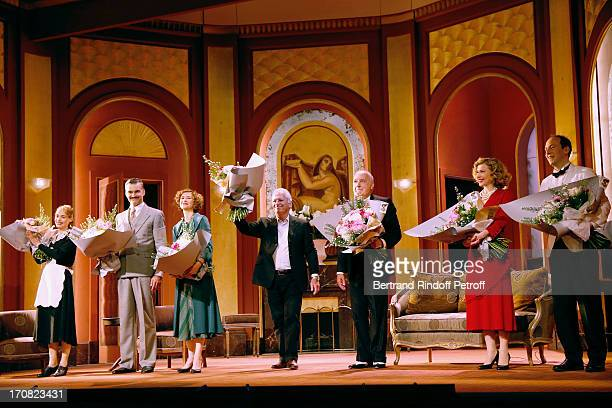 Julie Farenc Francois Vincentelli Florence Pernel director Bernard Murat Francois Berleand Pascale Arbillot and Michael Rozen on stage at the end of...