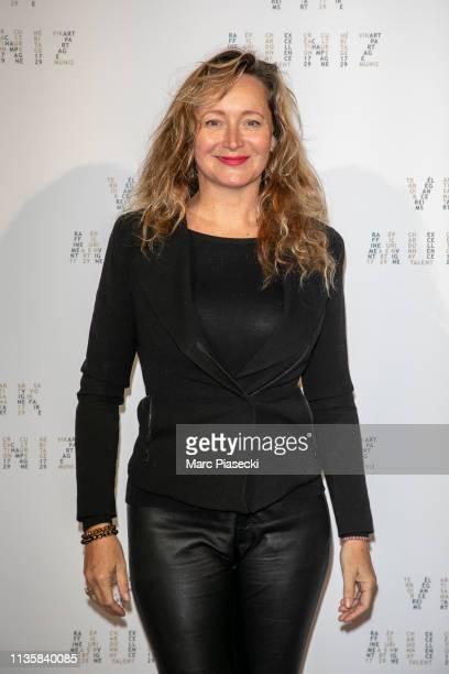 Julie Ferrier attends the Vik Muniz X La Maison Ruinart Photocall At Palais Brogniart on March 14 2019 in Paris France